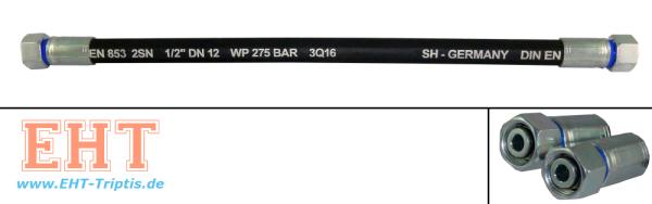 12x500 Hydraulikschlauch M22x1,5 DKOL SW 27 beidseitig mit Überwurfmutter