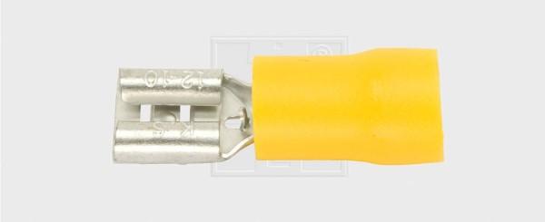 Flachsteckhülse 6,3 / 4,0-6,0mm², gelb, halbisoliert