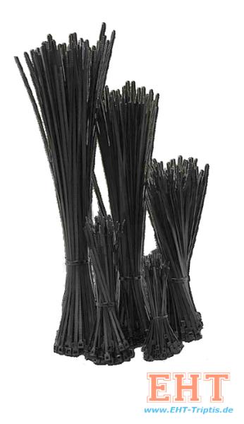Kabelbänder 7,6 x 370 schwarz (100 Stück)